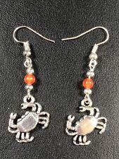 LOVEKY CRAB CANCER ZODIAC EARRINGS TIBETAN SILVER CHARMS Orange beading Gift Bag
