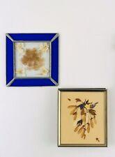 2 Vintage Dried Pressed Flower Wing Framed Art 4 X 5 Bird Boho Brown Cobalt Blue