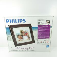 "Phillips 10.4"" LCD Digital Photo Frame Mocha Wood W/ Remote"