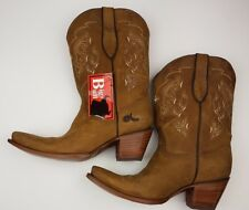"Big Bull Cowbow Boots Dariela Women's Size 10 Brown Embroided Square Toe 3"" Heel"