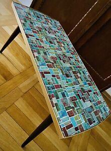 Mosaik Blumenbank Vintage 50er 60er Blumentisch Resopal Design Nierentisch +TOP+