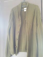 Mens Topman Large L Knitted Acrylic Green Khaki Buttoned Sweater Cardigan Used