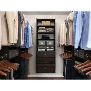 Closet Tower 25 in. Espresso Wall-Mounted Adjustable Shelves Laminate Wood Brown