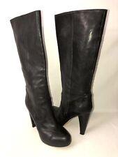 Loeffler Randall Women's 40B Black All Leather Platform Pull On Tall Boots Italy