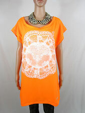 DIMONA Womens Orange Hand Custom Lace Embellish Sexy Tunic Plus sz L 16 AS73