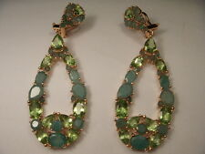 Gorgeous 14K Yellow Gold Vermeil Silver Peridot Emerald Designer Dangle Earrings
