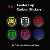 4x FIAT Badge Logo Carbon Center Caps Alloy Rim Wheels Stickers Abarth Punto 500