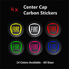 4x FIAT badge logo carbon center caps Alliage Jante Roue Stickers ABARTH PUNTO 500