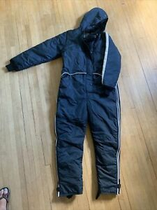 Vintage Refrigiwear Ski Snowmobile Insulated Coveralls Hooded Blue Work Wear Med