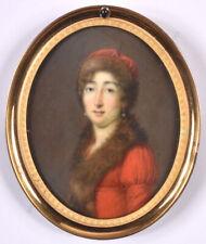 """Jean Pierre Frederic Barrois """"Lady in Polish """"shuba"""""""", fine miniature, 1810/15"""