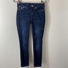 True Religion Women's Size 28 Skinny Jeans Flap Pockets Blue Dark Wash