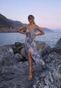 Auguste The Label Cottage Rituals Blue Floral Midi Dress Size 8 10