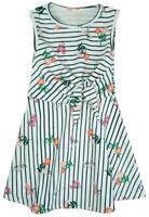 Girls Floral Bouquet & Stripe Sleeveless Summer Skater Dress 2 to 6 Years