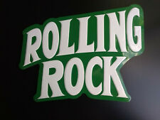 """Rare Vintage Rolling Rock Raised Letters Tin Metal Beer Sign 17""""x12"""" Decor Green"""