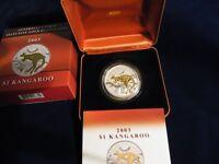 AUSTRALIA .  2003 $1 Kangaroo - Selective Gold Plated  1oz Silver