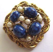 broche ancien bijou vintage couleur or perles bleu lapis lazuli et blanc 3494