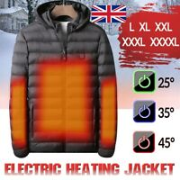 UK USB Electric Heated Coat Jacket Hooded Heating Vest Winter Thermal Warmer Men