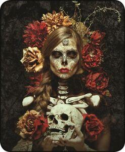 Queen Flores De La Muerte Skulls and Roses Mink Faux Fur Fleece Blanket Plush