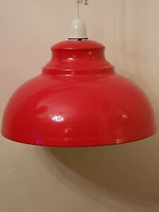 VINTAGE STYLE RED METAL PENDANT CEILING LIGHT SHADE