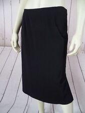 CALVIN KLEIN Skirt S Black Rayon Poly Spandex Stretch Fine Knit Straight SEXY!
