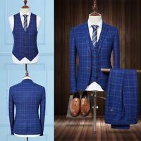 Men's Tweed Check Blue Suits 3 Pieces Wedding Groom Formal 2  Button Tuxedos