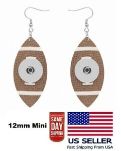 Snap Jewelry Football Charm Drop Earrings Sports Team fits 18-20mm Ginger Charm
