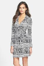 Diane von Furstenberg New Jeannie two wrap Black and white Dress 8 NWT