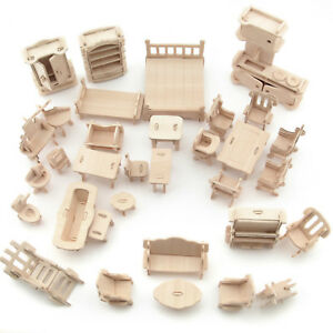 34Pcs/ 1 Set Vintage Wooden Furniture Dolls House Miniature Toys Kids Gifts New