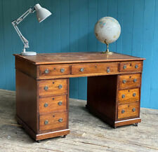 Antique Worn Brown Leather Top Twin Pedestal Writing Desk DELIVERY*🚚