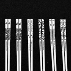 Stainless Steel Chopsticks Metal Korean Chinese Food Reusable Nonslip Chop Stick