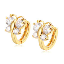 Cute Babys Little Girls Butterfly  Lucky CZ womens small Hoop Earrings Fashion