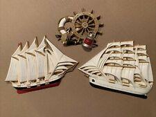 Mid Century Burwood Products Weather Station Ship Schooner Barometer Hygrometer