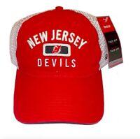 Reebok New Jersey Devils Hat Slouch Mesh Adjustable Snapback Cap