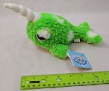"Applause Narwhal Plush 7"" Shaggy Green, White Spots Very Soft! NWT"