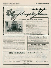 1961 Rangeley Manor Travel Ad Maine Motel Hotel Franklin County Vintage Vacation