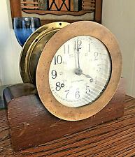New listing Vintage Seth Thomas Brass Maritime Ship'S Clock W/ Brass Bezel & Wood Stand