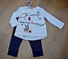 BABY GIRLS BNWT AGE 3-6 MONTHS CHRISTMAS PARTY OUTFIT JUMPER & LEGGINGS