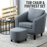 Luxdream Tub Accent Chair Fabric Sofa Lounge Couch Wood Armchair Ottoman