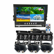 "9"" Quad Monitor Split Screen Reversing 3 Camera IR CCD 4PIN Kit Truck 24V/12V"