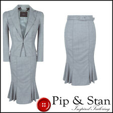 NEW COAST PENCIL SKIRT SUIT SIZE UK12/10 US8/6 GREY WOOL BUSINESS WOMENS LADIES