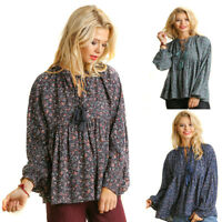 UMGEE Womens Floral Baby Doll Chic Bohemian Long Ballon Sleeves Top Blouse S M L