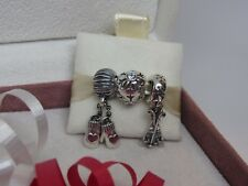New w/Box Pandora Gift Set of 3 Winter Charms Skis Winter Mittens Aqua Snowflake