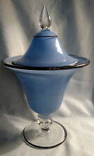 Tiffin Covered Candy Jar - Blue Painted with Black Trim