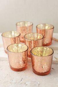 24 Rose Gold Mercury Glass Votives Candle Holder Wedding Decor Shabby Rustic