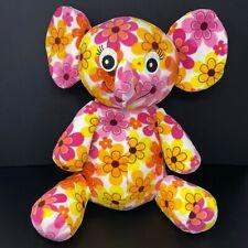 """Melissa & Doug Plushalicious Elephant Plush Pink Orange Yellow Flowers 25"""" Large"""
