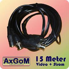BNC Kombi-Kabel - Video+Strom - 15 Meter - schwarz - für Überwachungskamera