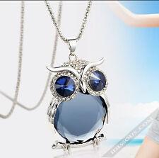 Halskette mit Eule Anhänger Silber Diamant Zirkon Schmuck Damen GESCHENK Collier