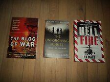 3 Afghanistan War Books Blog of War & The Unforgiving Minute & Hell Fire Ed Macy