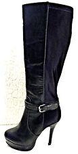 Charlotte Russe Black Faux Leather Knee High Stiletto Platform Boots Size 7