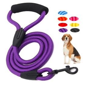 Round Nylon Rope Dog Puppy Lead 1.2m - Comfortable Handle Soft Training Leash